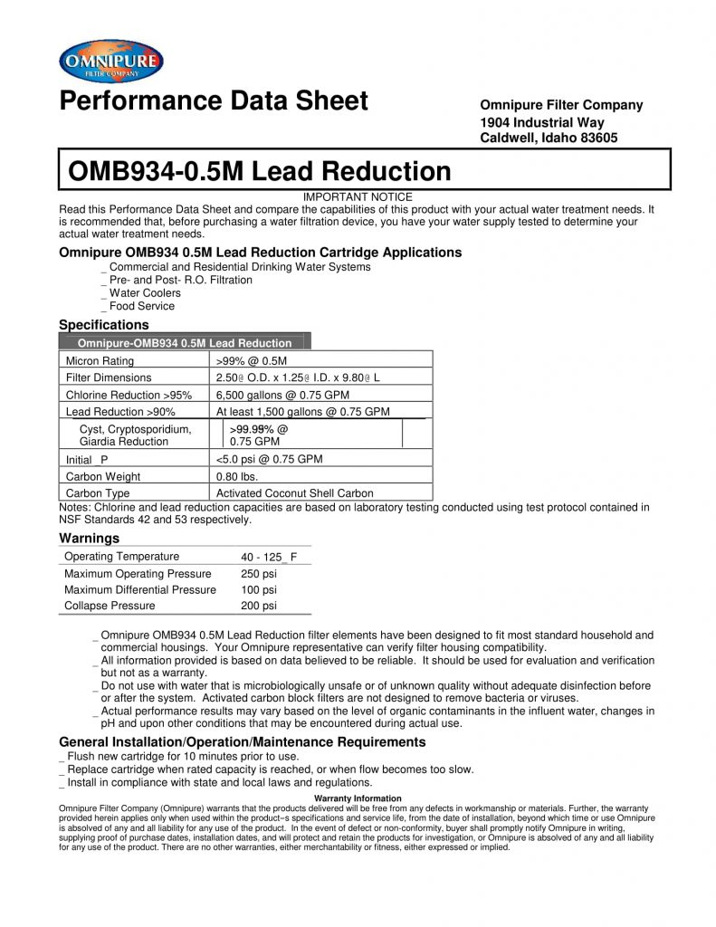 OMB934 0.5M Lead Reduction